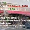 VENERDI' 16 FEBBRAIO 2018, ORE 17: AL CAFFE' TIRRENO CARLA AMICI E IL MINISTRO ANNA FINOCCHIARO
